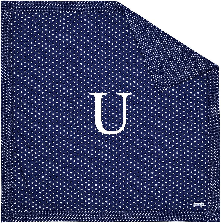 Blausberg Baby - Krabbeldecke Blau mit WUNSCH-Buchstabe  U  für den Boden Spieldecke Laufgittereinlage, mit klteabweisender Einlage, oben 100% Wolle, umschlossen von 100% Baumwolle OEKO-TEX Standard 100