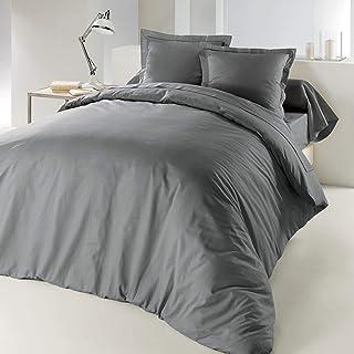 douceur d'intérieur 1640743 Housse de Couette Uni Coton 57 Fils Gris Souris 220 x 240 cm