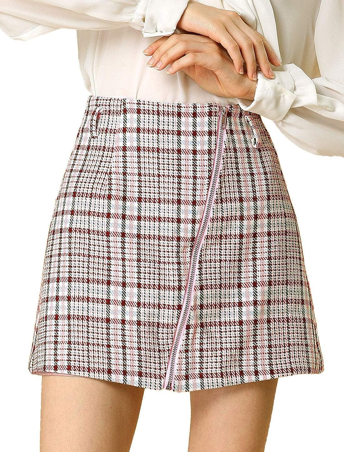 Allegra K Women's Plaid A-Line Front Full Zip High Waist Mini Skirt with Belt