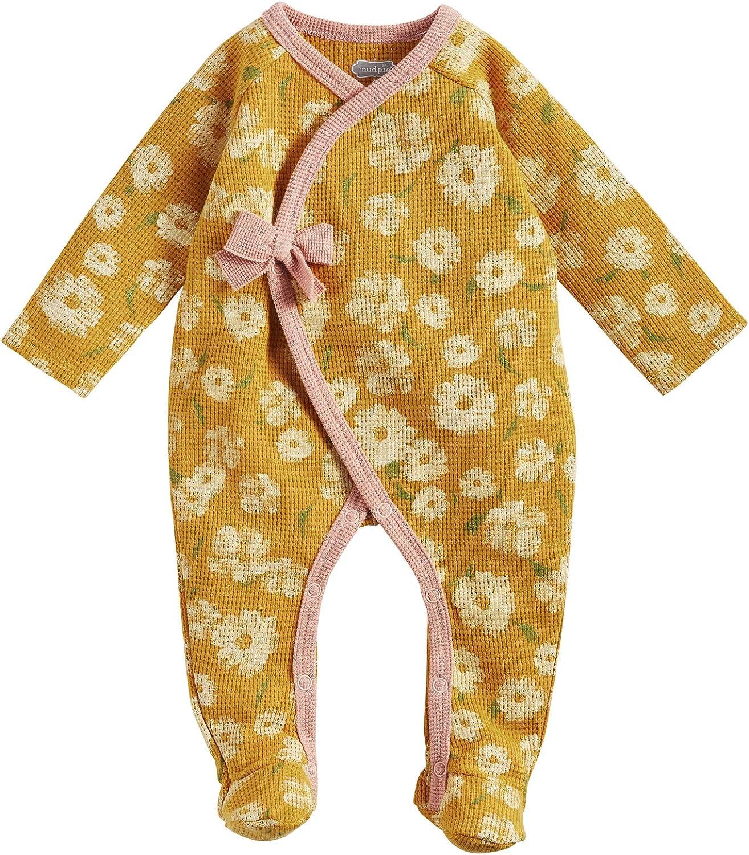 Mud Pie Baby Girls' Mustard Floral Waffle Sleeper