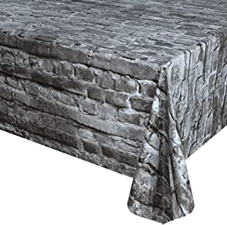 2 Pcs Cobblestone Tablecloth Stone Wall PlasticTable Covers 87 x 51 Inches Medieval Party Disposable Tablecovers for Medi...