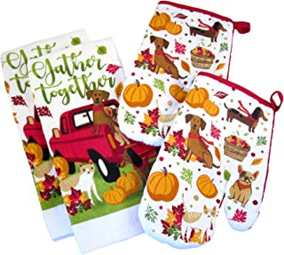 Fall Harvest Thanksgiving Kitchen Towels and Oven Mitts - Bundle of 4 Items: 2 Dish Towels and 2 Oven Mitts (Dogs and Cats - Pumpkins and Leaves)