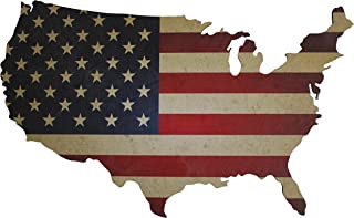 "American Flag Wall Art Large 36"" x 22"" Laser Cut Wood Map with Distressed Vintage US Flag Print (Red, White, and Blue)"