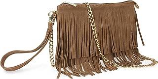 Fringe Cross Body Bag Womens Small Shoulder Bag Top Zip Wristlet