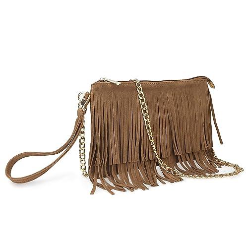 66dfe12c404d Hoxis Fringe Cross Body Bag Womens Small Shoulder Bag Top Zip Wristlet
