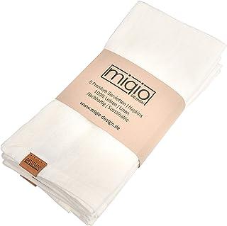 Miqio® Design – Serviettes en lin de qualité supérieure | 100 % lin de France | Étiquette de marque en cuir véritable | Lo...