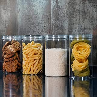 Annfly Lot de 4 bocaux de rangement hermétiques en plastique avec couvercles durables Idéal pour la cuisine et le rangemen...