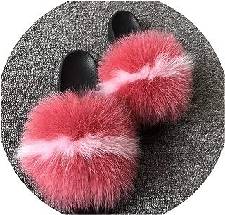 2019 Women's Plush Fox Hair Fluffy Slippers Women's Fur Slippers,Fox Hair,12