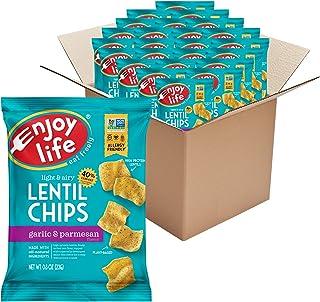 Enjoy Life Garlic and Parmesan Lentil Chips, Dairy Free Chips, Soy Free, Nut Free, Non GMO, Vegan, Gluten Free, 24 - 0.8 o...