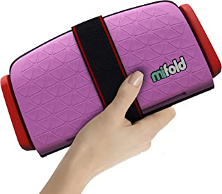 mifold Grab-and-go Car Booster Seat, Perfect Pink – Compact and Portable Booster for Travel, Carpooling and More – Foldable Child Booster Seat Fits into Glove Box and Backpack