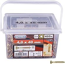 Connex Universele schroeven 4,0 x 40 mm - 455 stuks in set - verzonken kop - TX torx-aandrijving - gedeeltelijke schroefdr...