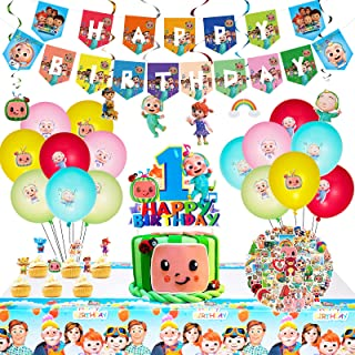Coco-melon Birthday Party Supplies for Kids, 98pcs Coco-melon Party Supplies Include Stickers, Birthday Banner, Coco-melon...