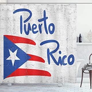 Lunarable Puerto Rico Shower Curtain, Hand Drawn Flag and Lettering Weathered Background, Cloth Fabric Bathroom Decor Set with Hooks, 70 Long, Cobalt Blue Pale Taupe