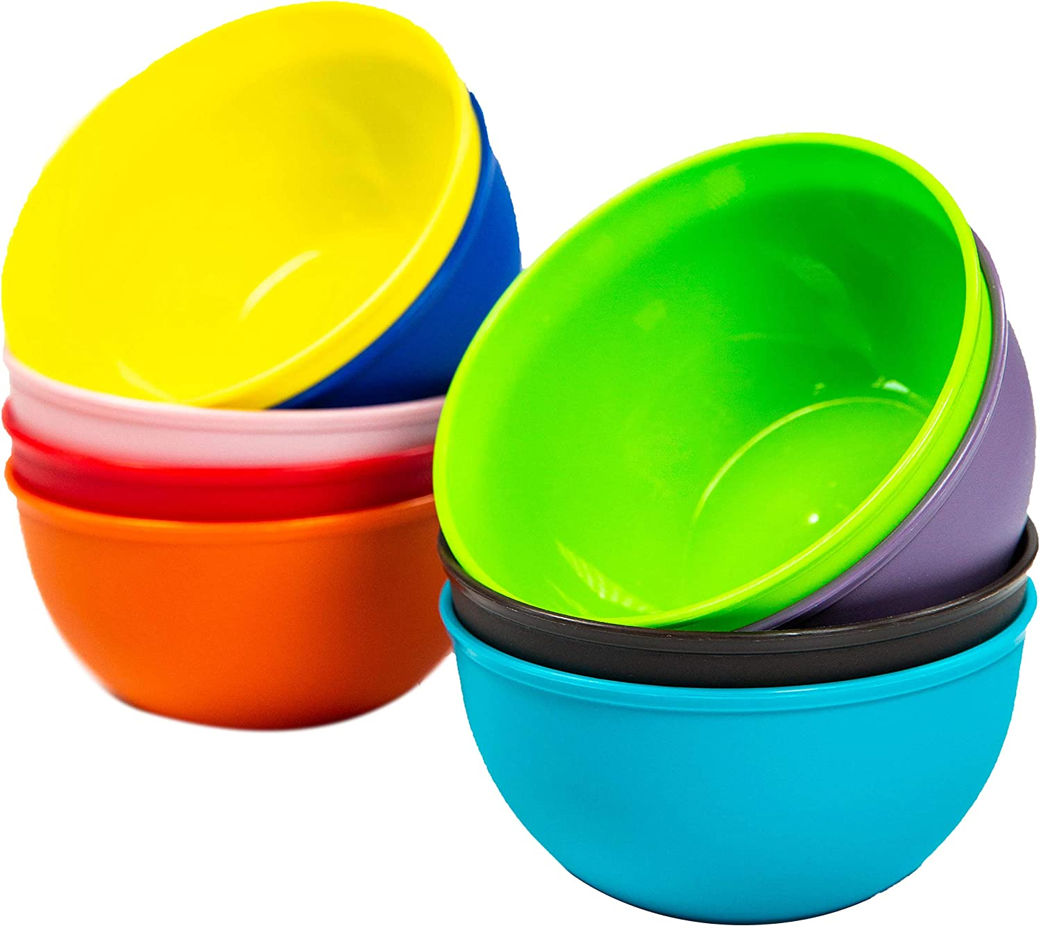 Youngever 9 Pack 10 Ounce Plastic Bowls, Kids Plastic Bowls, Set of 9 in 9 Assorted Colors : Home & Kitchen