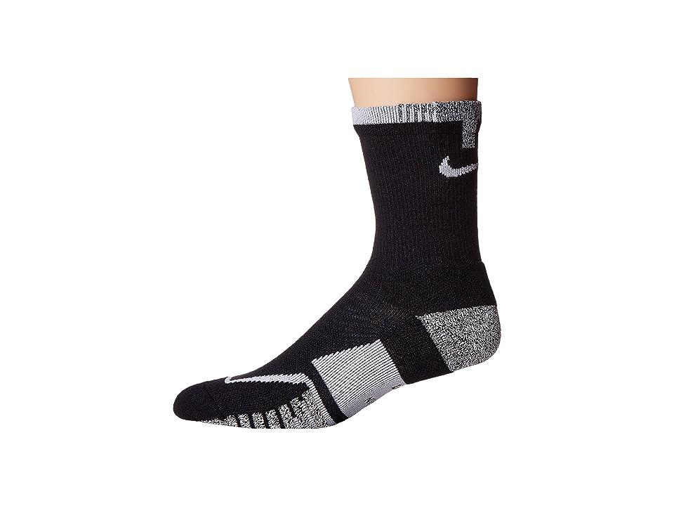 Nike NIKEGRIP Elite Crew Tennis Socks (Black/Black/White) Crew Cut Socks Shoes