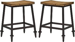 Stone & Beam Ariana Rustic Farmhouse Metal Bar Stool, 25 Inch Height, Set of 2, Brown