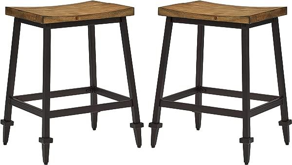 Stone Beam Ariana Rustic Farmhouse Metal Bar Stool 25 Inch Height Set Of 2 Brown