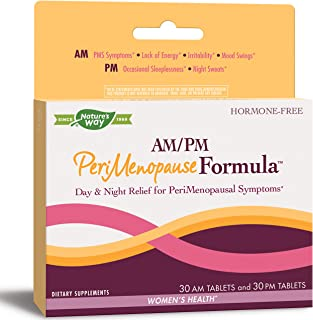 Nature's Way AM/PM PeriMenopause Formula Hormone-Free Day & Night Relief, 30AM & 30PM Tablets (Packaging May Vary)