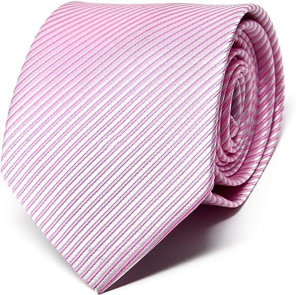 Oxford Collection Corbata de hombre Rosa a Rayas - 100% Seda - Clásica, Elegante y Moderna - (ideal para un regalo, una boda, con un traje, en la ...