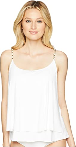 Safari Solids Layed Tankini Top w/ Chain Detail & Removable Soft Cups