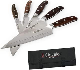 3 Claveles Juego de 5 Cuchillos Profesionales en Acero Inoxidable Gama Norden, Selección Master Chef, Incluye Estuche