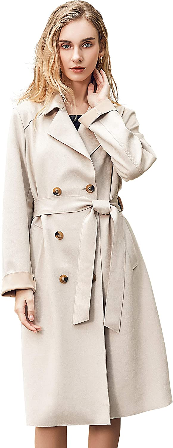 Women Faux Suede Trench Coat Double Breasted Coat Knee Length Coat with Belt