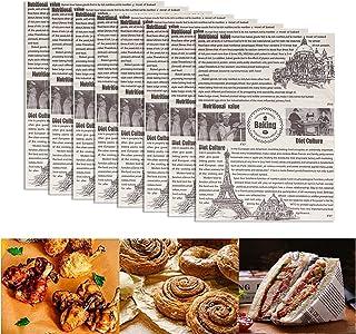 XGzhsa Papel de envolver alimentos, 100 hojas de papel encerado a prueba de grasa, papel de envolver para hornear para el ...