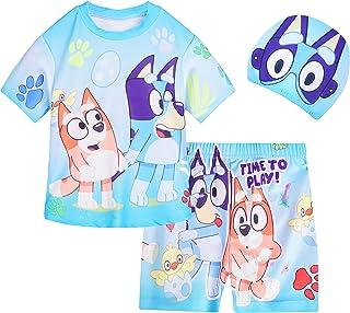 ملابس سباحة للأطفال للأولاد قطعتين بدلة سباحة قصيرة الأكمام مع قبعة لرياضات الشاطئ الصيفية