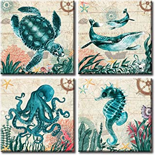 Sea Turtle Bathroom Wall Decor Octopus Seahorse Whale Marine Creature Canvas Prints Teal Watercolor Painting Beach Theme Artwork 4 Panels Framed for Bedroom Living Room Home Office Decorations