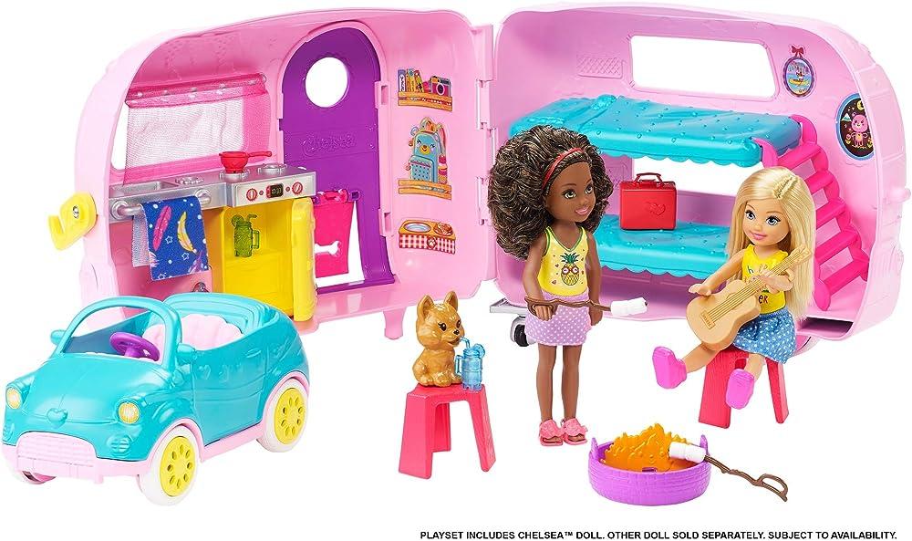 Barbie, il camper di chelsea, playset con bambola, veicolo, roulotte e tanti accessori FXG90