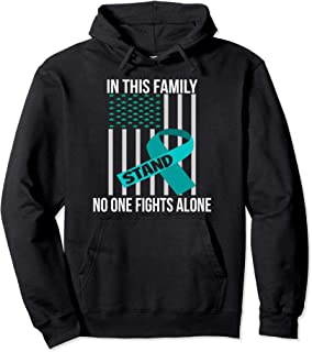 USA Flag Teal Ribbon Products Ovarian Cancer Awareness Pullover Hoodie