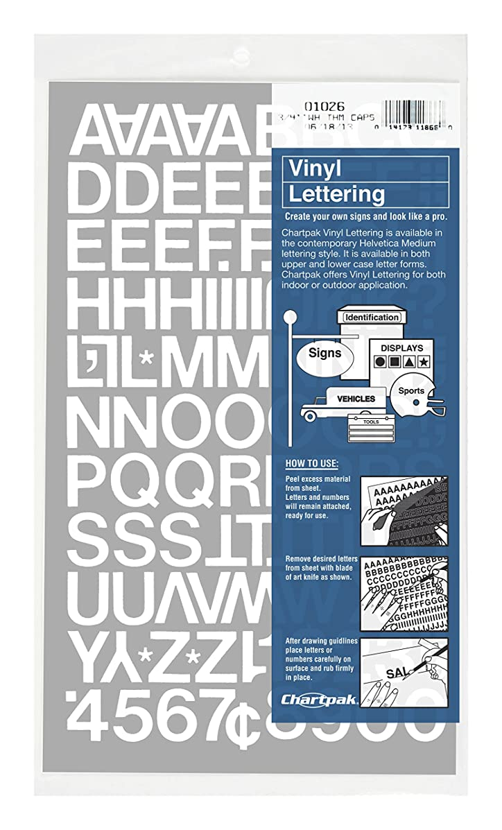 Chartpak Self-Adhesive Vinyl Capital Letters and Numbers, 3/4 Inches High, White, 94 per Pack (01026)