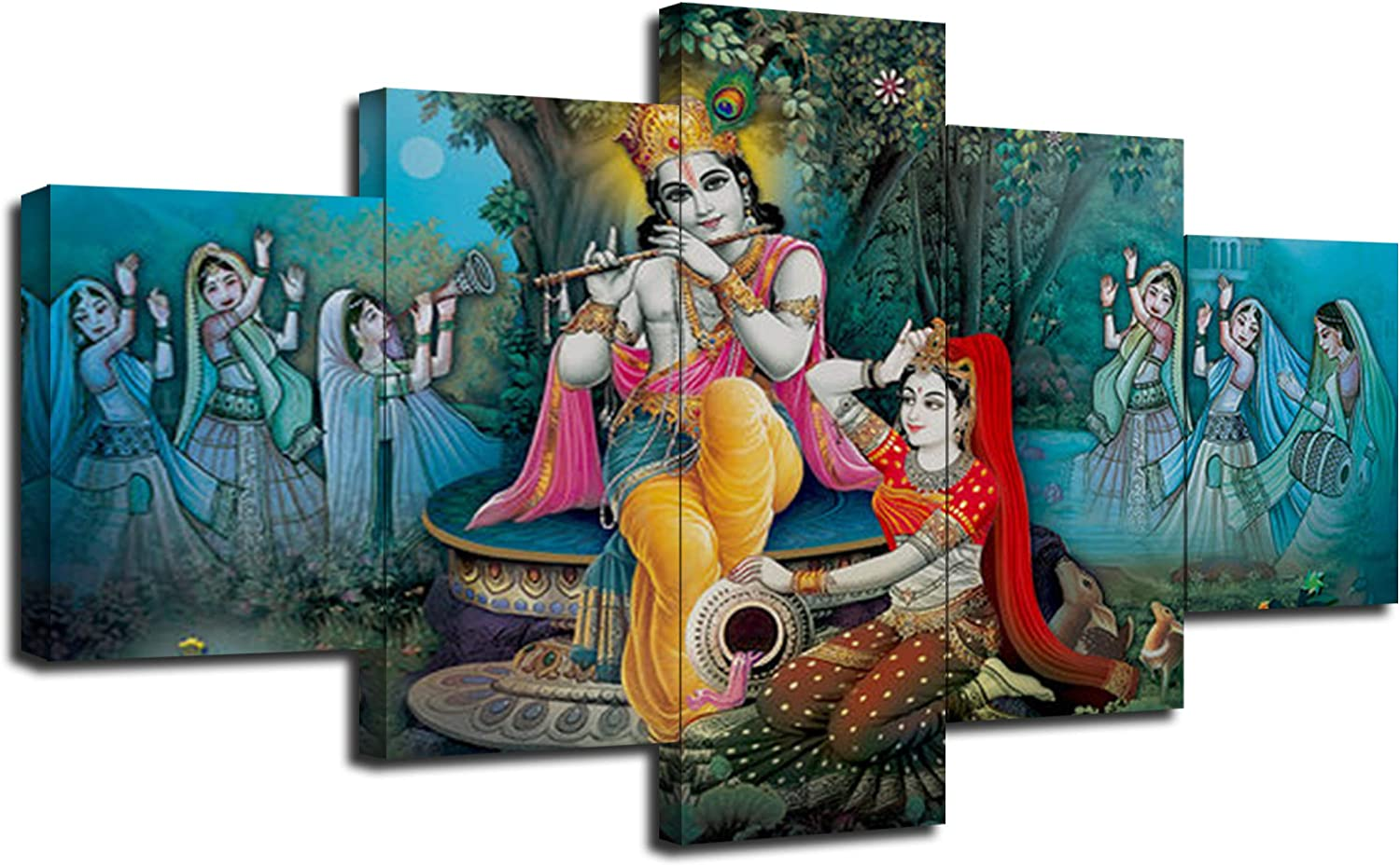 Artbrush Tower Radha Krishna Canvas Art Wall Paintings Home Decor Radha  Krishna Pictures 10 Pieces Framed Poster Wall Decoration Ready to ...