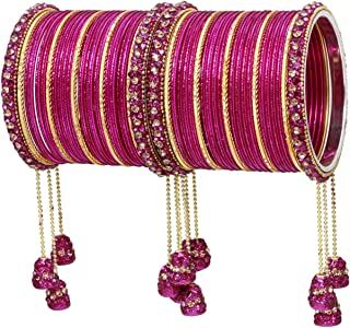 Ratna Indian Bollywood Bangles Women Wedding & Party Wear Pakistani Matching Outfit Color Latken Dangle Drop Bridal Bangle Set Pair Jewelry