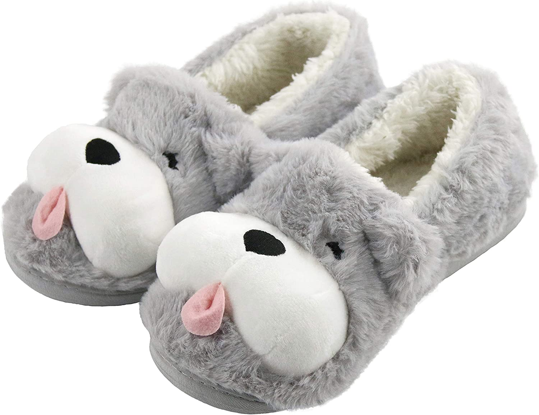 Sanfiago Fuzzy Puppy Max 56% Raleigh Mall OFF Dog Women Non-Slip Fluf Heels Slippers with