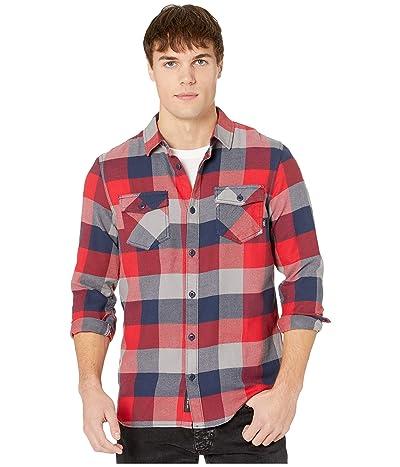 Vans Box Long Sleeve Flannel (Racing Red/Dress Blues) Men