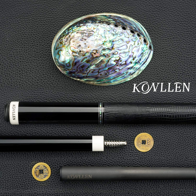 KONLLEN Carbon Fiber Pool Cue Stick Handmade Inlay Cue Abalone Shell Inlay Ring, Carbon Technology Low Deflection Billiard Cue Stick, Ebony Butt, 12.5mm,147cm