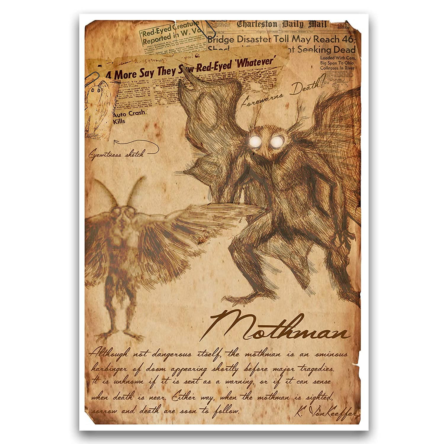 Mothman Limited time cheap sale urban legend art print and folklore cry Now free shipping monsters myths