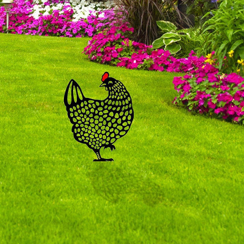 Kbsin212 Decoraci/ón para jard/ín con forma de gallina adornos para el c/ésped estatuas de jard/ín yard art siluetas exteriores decoraci/ón de metal decoraci/ón de pollo