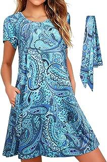 Enmain Abito estivo Casual da Donna con Tasche T-Shirt a Tunica ampia e Comoda con Cintura Hawaii Beach