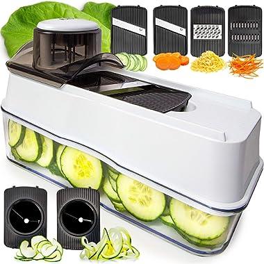 Fullstar Mandoline Slicer Spiralizer Vegetable Slicer - Veggie Slicer 5-in-1  Mandoline Food Slicer with Julienne Grater - V Slicer Mandoline Cutter - Vegetable Cutter Zoodle Maker