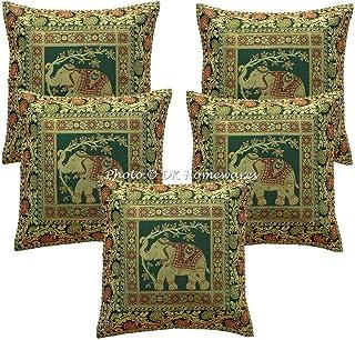 DK Homewares Indien Jacquard Fête 16 Pouces x 16 Pouces Vert foncé Brocart Taies d'oreiller Éléphant Paisley Décoration de...
