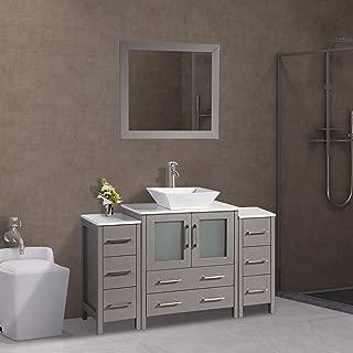 Vanity Art 54 inch Single Sink Bathroom Vanity Combo Set 8-Drawers, 1-Shelf, 3 Cabinet Quartz Top and Ceramic Sink Bathroom Cabinet with Mirror - VA3130-54-G