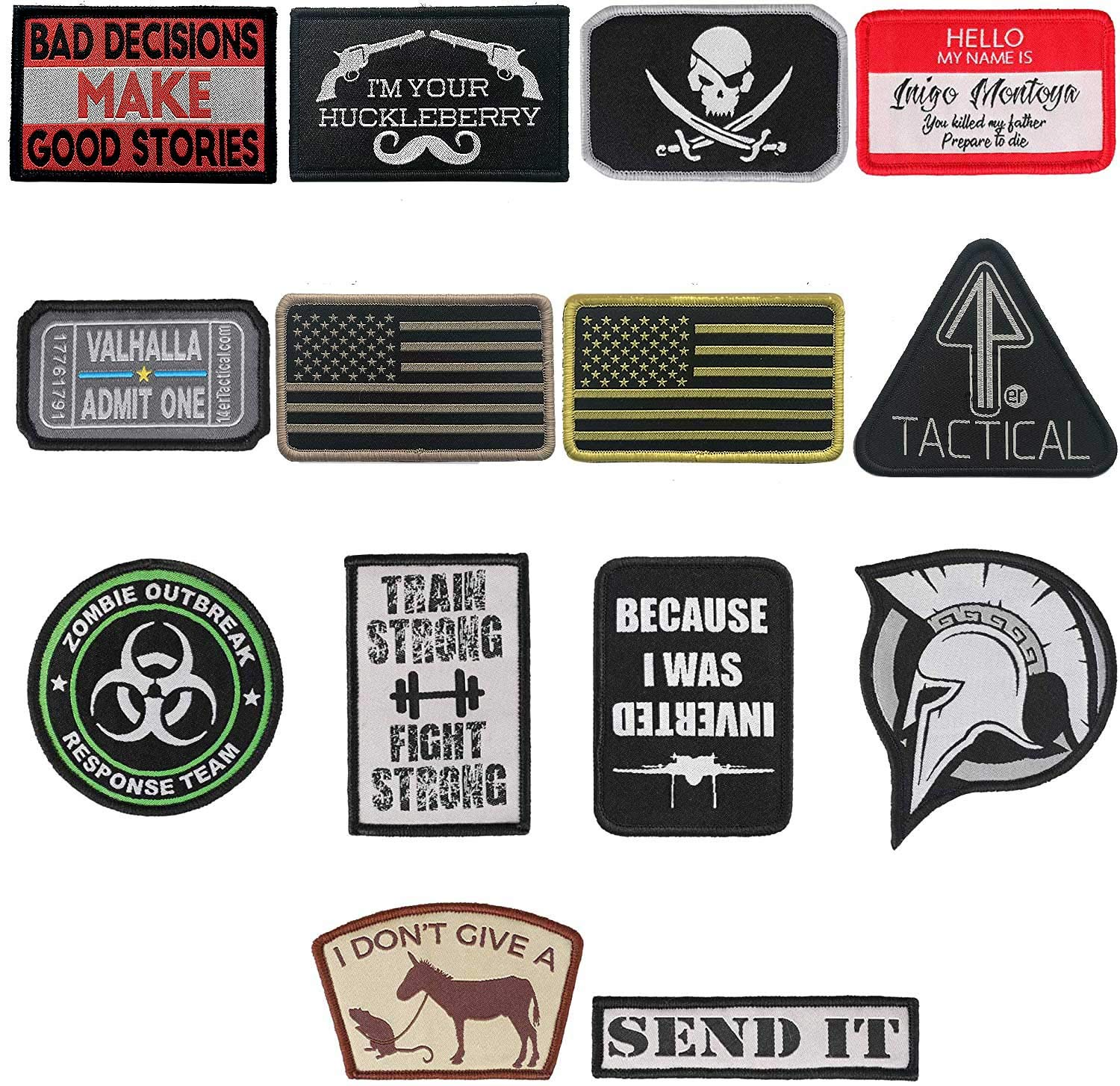14Pack Funny Tactical Morale Patches + American Flag Military Patch for Backpack Uniform
