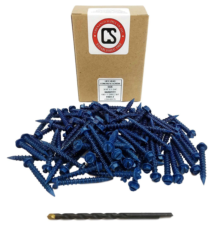 "Chenango Supply 3/16 x 1-3/4"" Hex Head Concrete Screw Anchor. 100 Pieces with Drill Bit (Miami-Dade Compliant) (3/16 x 1-3/4)"