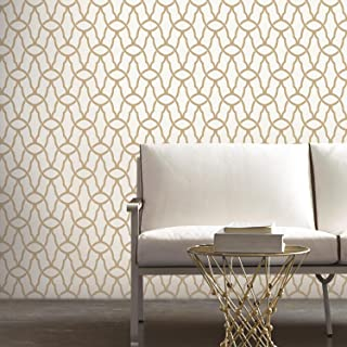"RoomMates RMK9121WP Trellis Gold Peel and Stick Wallpaper, 20.5"" x 16.5 Feet"
