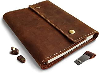 Albero Refillable Genuine Leather Journal with Spiral Bound Lined Notebook, A5 8.6x6.6 Inches, Brown Vintage Diary, Lay Flat 240 Pages for Travelers, Business and Writing