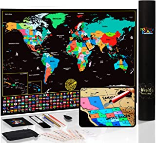 Novelty Place Scratch Off Map of The World with States and Flags - Travel Tracker Map Poster - Complete Scratcher Kit Incl...