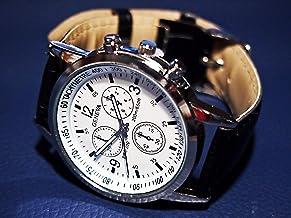 メンズウォッチ 男性用腕時計 クロノグラフ風デザイン アナログ フェイクレザーベルト ブラック カジュアル ビジネス ドレスウォッチ 黒×白
