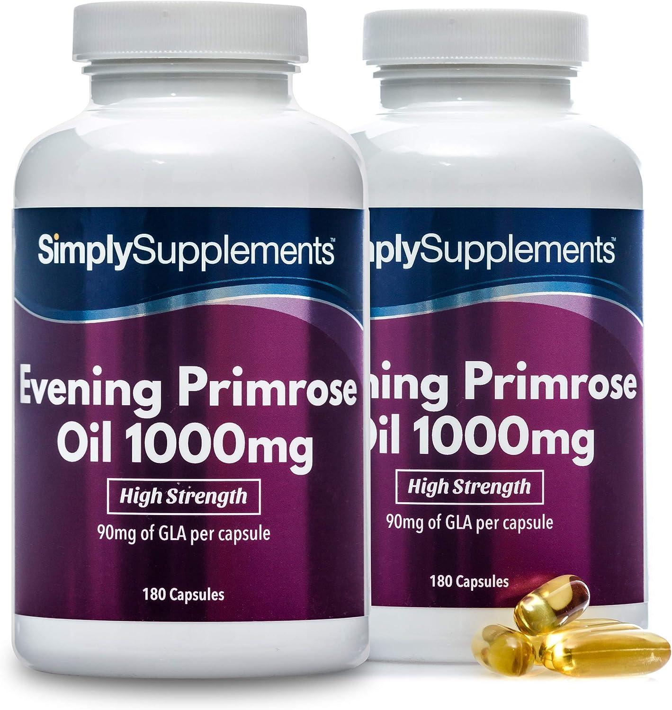 Aceite de onagra 1000 mg - ¡Bote para 1 año! - 360 Cápsulas - SimplySupplements